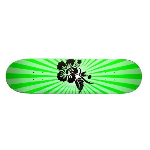 Hawaiian Flowers; green Skateboard