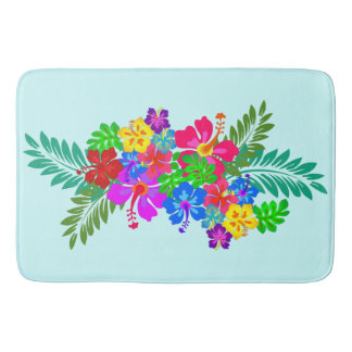 Hawaiian Flowers Hibiscus Leaves Swag Bath Mats