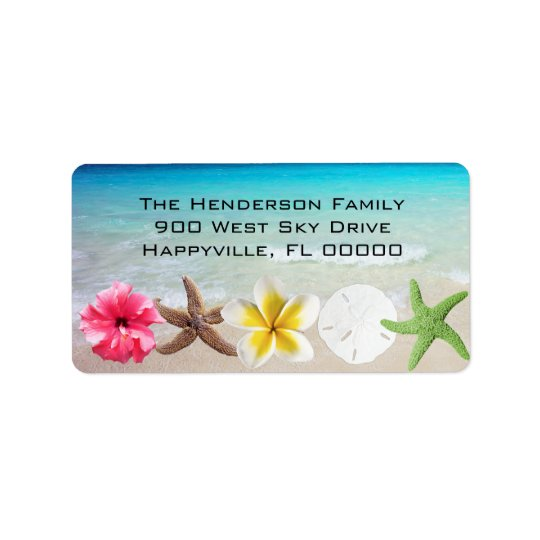 Hawaiian Flowers n Seashells Return Address Label