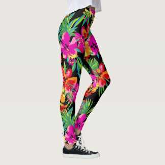 Hawaiian Flowers Your Background Color Leggings