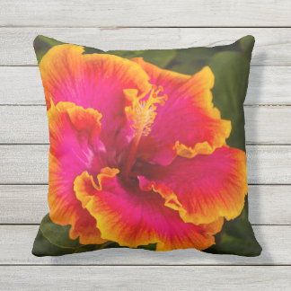 Hawaiian Fuchsia Hibiscus from Kauai Outdoor Outdoor Cushion