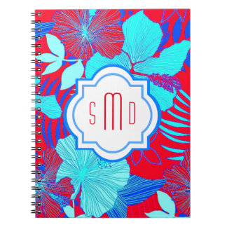 HAWAIIAN GETAWAY STYLE BOLD COLORS FLORAL PATTERN NOTE BOOKS