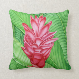Hawaiian Ginger Watercolor Throw Pillow