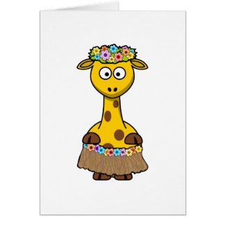 Hawaiian Giraffe Cartoon Card