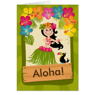 Hawaiian Girl Card