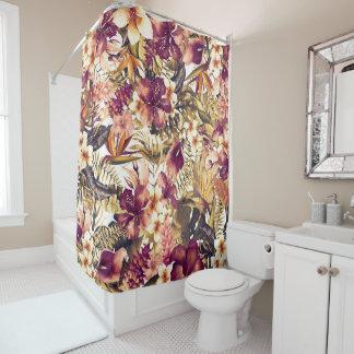 Hawaiian Golden Tropics Elegant Vintage Modern Shower Curtain