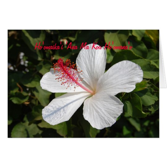 Hawaiian Happy Anniversary White Hibiscus Card