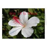 Hawaiian Happy Birthday White Hibiscus Card
