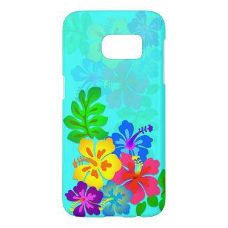 Hawaiian Hibiscus Aqua Blue Samsung S7