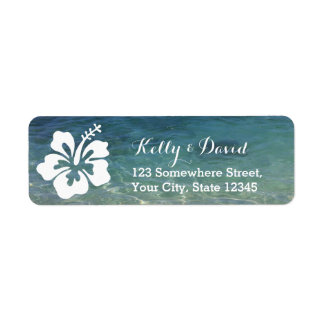 Hawaiian Hibiscus Beach Wedding Return Address Return Address Label