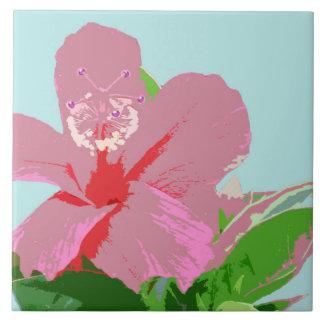 Hawaiian Hibiscus Flower Art Ceramic Tile