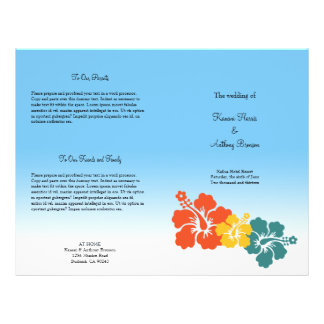 Hawaiian hibiscus flower beach wedding program flyer