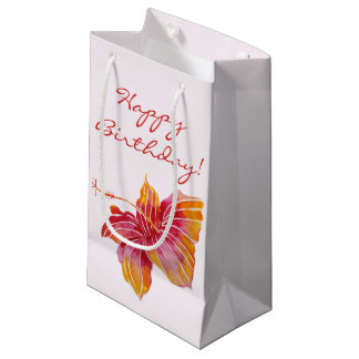 Hawaiian Hibiscus Flower   Birthday Small Gift Bag
