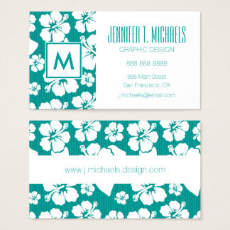 Hawaiian Hibiscus Flower Pattern Business Card