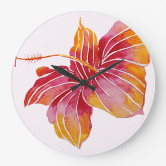 Hawaiian Hibiscus Flower Round (Large) Wall Clock