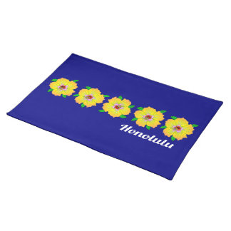 Hawaiian Hibiscus Flowers Honolulu Hawaii Placemat