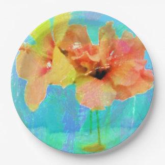 Hawaiian Hibiscus Flowers Paper Plate