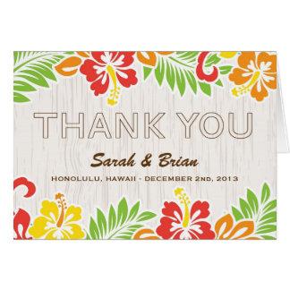Hawaiian Hibiscus Flowers Wedding Thank You Card