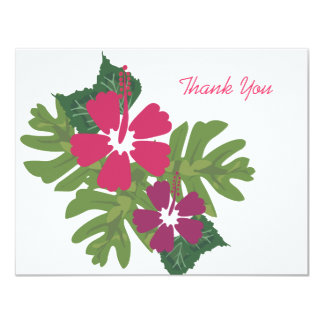 Hawaiian Hibiscus Pink Thank You Card 11 Cm X 14 Cm Invitation Card