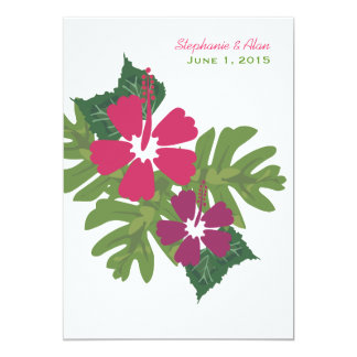 Hawaiian Hibiscus Pink Wedding Invitation