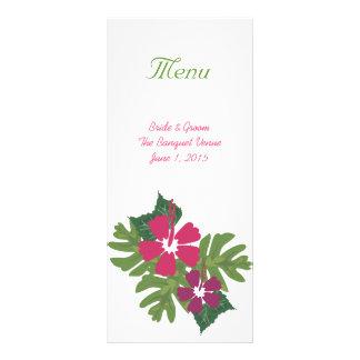 Hawaiian Hibiscus Pink Wedding Menu Rack Card