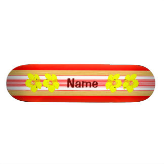 Hawaiian Hibiscus Red Surfboard Skateboard Decks