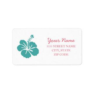 Hawaiian Hibiscus Wedding Address Label