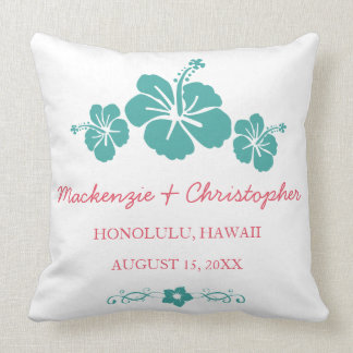 Hawaiian Hibiscus Wedding Throw Pillow