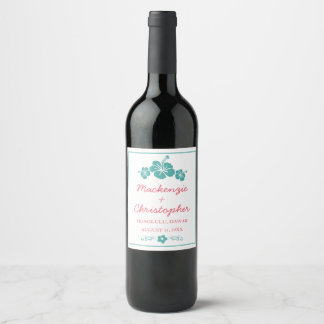 Hawaiian Hibiscus Wedding Wine Label