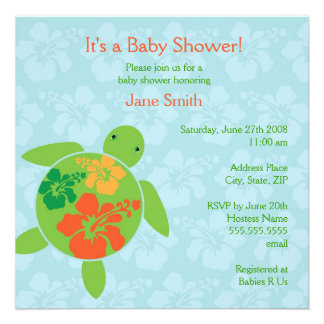 Hawaiian Honu Baby Shower Invitation - Blue