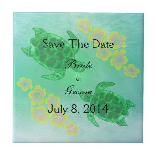 Hawaiian Honu Save The Date Ceramic Tile