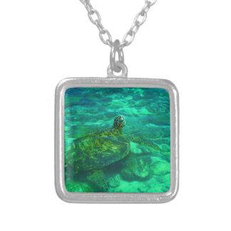 Hawaiian Honu Sea Turtle Silver Plated Necklace