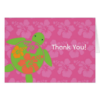 Hawaiian Honu Thank You Card - Hot Pink