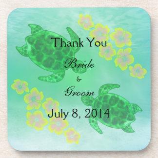 Hawaiian Honu Wedding Thank You Beverage Coaster