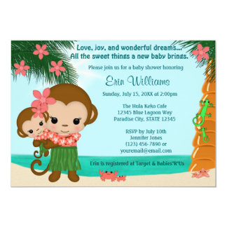 Hawaiian Hula Monkey Baby Shower invitation Beach