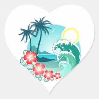Hawaiian Island 2 Heart Sticker