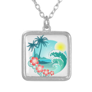 Hawaiian Island 3 Silver Plated Necklace