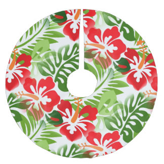 Hawaiian Island Hibiscus Flowers Red Brushed Polyester Tree Skirt