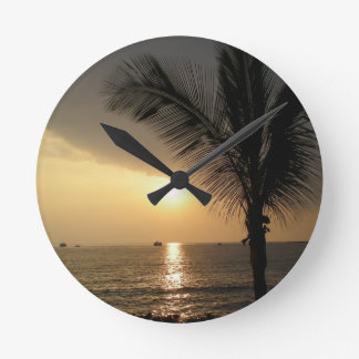 Hawaiian Island Ocean Sunset Round Clock
