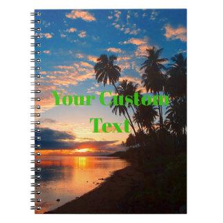 Hawaiian Island Tropical Sunset Spiral Notebook