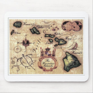 Hawaiian Islands vintage map print Mouse Pad