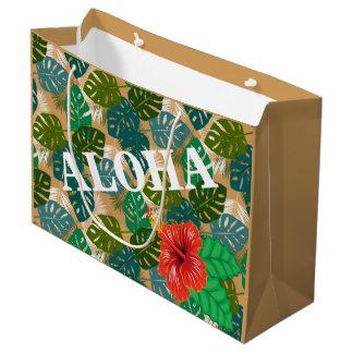 Hawaiian Jungle Foliage Hibiscus ALOHA Large Gift Bag