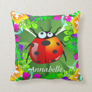 Hawaiian ladybug standing on a four leaf clover cushion