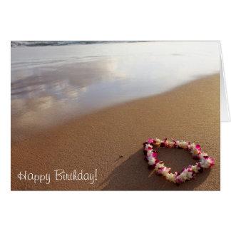 Hawaiian Lei & Beach Birthday Card