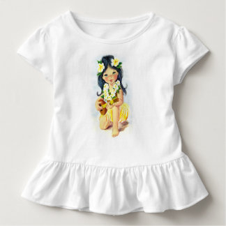 Hawaiian Lei Girl with Ukulele Ruffle Tshirt