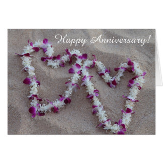 Hawaiian Lei Hearts in the Sand Anniversary Card