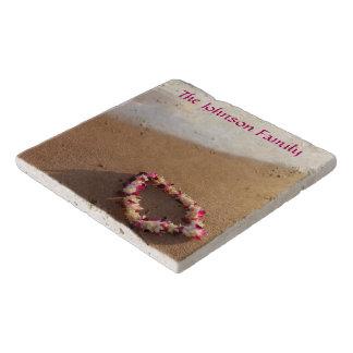 Hawaiian Lei Sandy Beach Personalized Stone Trivet