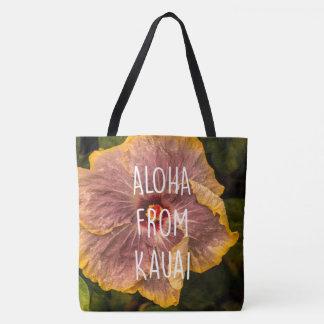 Hawaiian Lilac Hibiscus Reversible Beach Bag