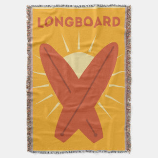 Hawaiian Longboard Surfboard Vintage Retro Throw Blanket