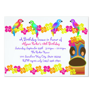 Hawaiian Luau 13 Cm X 18 Cm Invitation Card
